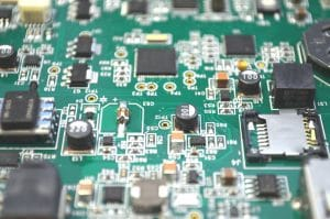 Circuit board protected by conformal coating.