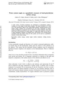 Water-contact-angle-quantitative-measure-total-polyethylene-surface-energy