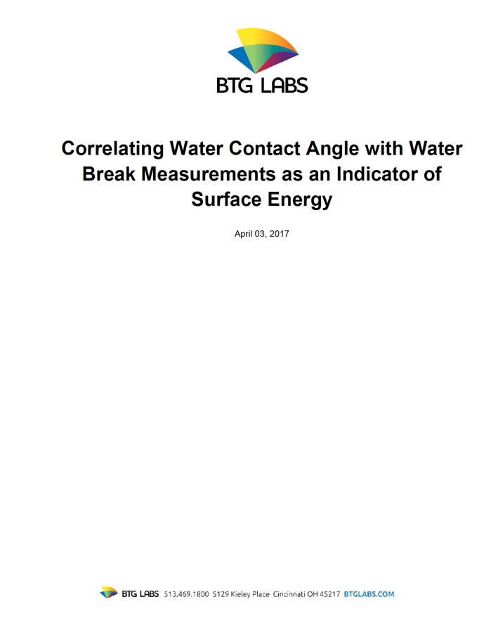 correlating-water-contact-angle-with-water-break-measurements-as-an-indicator-of-surface-energy